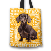 Load image into Gallery viewer, Designs by MyUtopia Shout Out:Humourous Dachshund Fabric Totebag Reusable Shopping Tote,Gold,Reusable Fabric Shopping Tote Bag