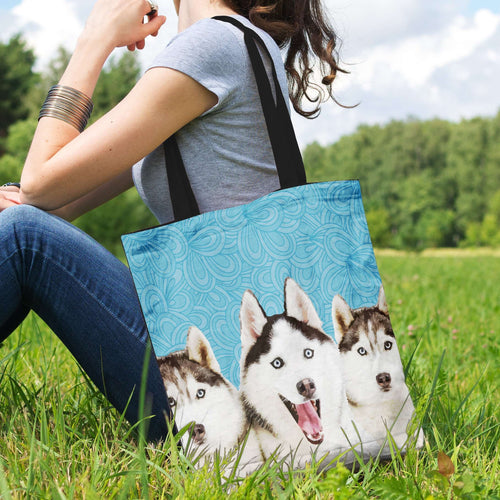 Designs by MyUtopia Shout Out:Huskies Fabric Totebag Reusable Shopping Tote