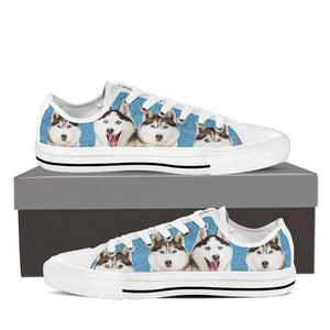 Designs by MyUtopia Shout Out:Huskies Low Top Canvas Sneakers,Women's / Ladies US6 (EU36) / Light Blue,Lowtop Shoes