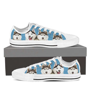 Designs by MyUtopia Shout Out:Huskies Low Top Canvas Sneakers,Men's / Men US8 (EU40) / Light Blue,Lowtop Shoes
