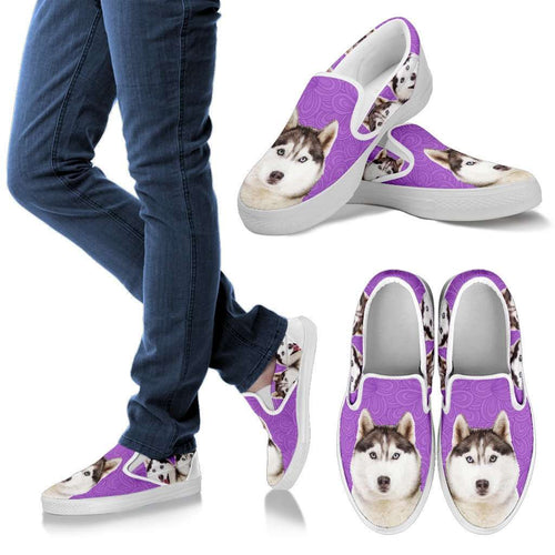Designs by MyUtopia Shout Out:Husky Puppies Canvas Slip-on Shoes Purple,Men's / Men's US8 (EU40),Slip on sneakers