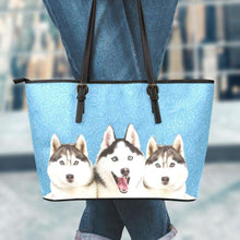 Load image into Gallery viewer, Designs by MyUtopia Shout Out:Husky Puppies Faux Leather Totebag Purse,Large (11 x 17 x 6) / Light Blue,tote bag purse