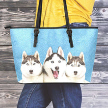 Load image into Gallery viewer, Designs by MyUtopia Shout Out:Husky Puppies Faux Leather Totebag Purse,Medium (10 x 16 x 5) / Light Blue,tote bag purse