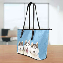 Load image into Gallery viewer, Designs by MyUtopia Shout Out:Husky Puppies Faux Leather Totebag Purse