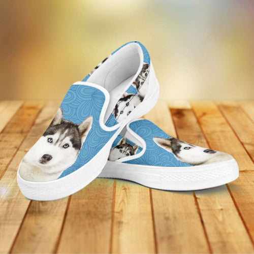 Designs by MyUtopia Shout Out:Husky Puppies Slip-on Shoes,Women's / Women's US6 (EU36) / Light Blue,Slip on sneakers