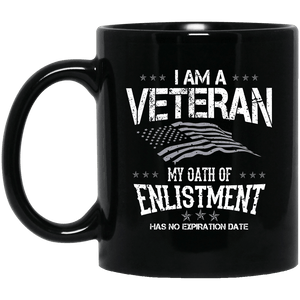 Designs by MyUtopia Shout Out:I Am A Veteran My Oath of Enlistment Has No Expiration Ceramic Coffee Mug,11 oz / Black,Ceramic Coffee Mug