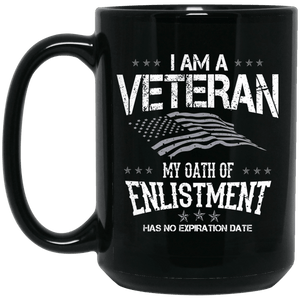 Designs by MyUtopia Shout Out:I Am A Veteran My Oath of Enlistment Has No Expiration Ceramic Coffee Mug,15 oz / Black,Ceramic Coffee Mug