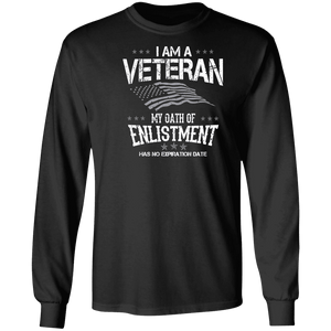 Designs by MyUtopia Shout Out:I Am A Veteran My Oath of Enlistment Has No Expiration Long Sleeve Ultra Cotton T-Shirt,S / Black,Long Sleeve T-Shirts
