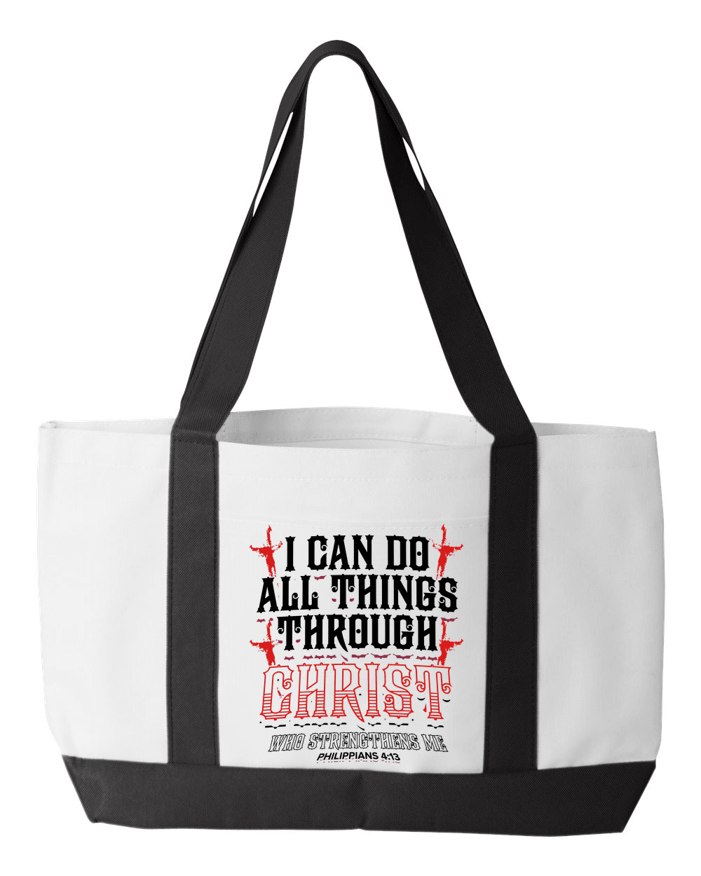 Designs by MyUtopia Shout Out:I Can Do All Things Through Christ Canvas Totebag Gym / Beach / Pool Gear Bag,Default Title,Gym Totebag