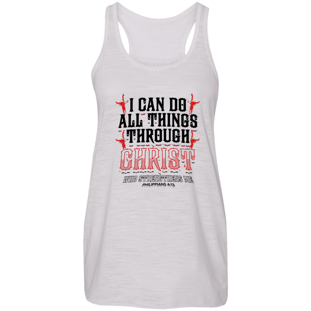 Designs by MyUtopia Shout Out:I Can Do All Things Through Christ Ladies Flowy Racer-back Tank Top,Vintage White / X-Small,Tank Tops