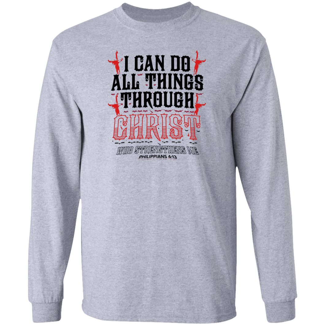 Designs by MyUtopia Shout Out:I Can Do All Things Through Christ Long Sleeve Ultra Cotton Unisex T-Shirt,S / Sport Grey,Long Sleeve T-Shirts