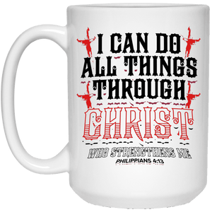 Designs by MyUtopia Shout Out:I Can Do All Things Through Christ Philippians 4:13 Ceramic Coffee Mug - White,15 oz / White,Ceramic Coffee Mug