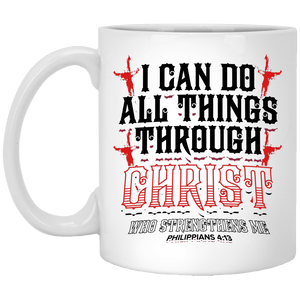 Designs by MyUtopia Shout Out:I Can Do All Things Through Christ Philippians 4:13 Ceramic Coffee Mug - White,11 oz / White,Ceramic Coffee Mug