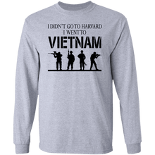 Load image into Gallery viewer, Designs by MyUtopia Shout Out:I Didn't Go To Harvard, I Went To Vietnam Long Sleeve Ultra Cotton Unisex T-Shirt,Sport Grey / S,Long Sleeve T-Shirts