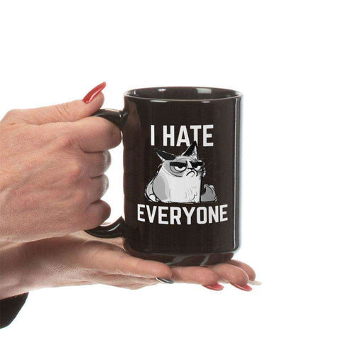 Designs by MyUtopia Shout Out:I Hate Everyone Inspired by Grumpy Cat Ceramic Coffee Mug - Black