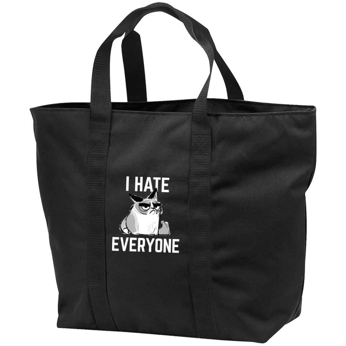 Designs by MyUtopia Shout Out:I Hate Everyone Inspired by Grumpy Cat Embroidered . All Purpose Tote Bag w Zipper Closure and side pocket,Black/Black / One Size,Totebag