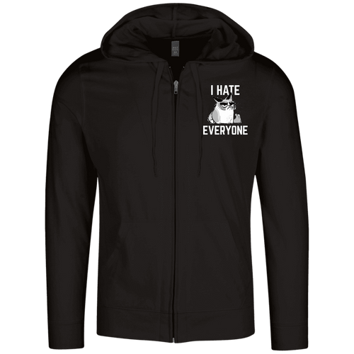 Designs by MyUtopia Shout Out:I Hate Everyone Inspired by Grumpy Cat Embroidered  Lightweight Full Zip Hoodie,Black / X-Small,Sweatshirts