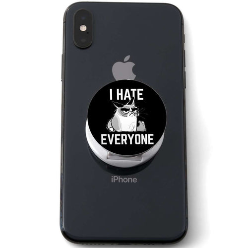Designs by MyUtopia Shout Out:I Hate Everyone Inspired By Grumpy Cat Hinged Phone Grip for Smartphones and Tablets