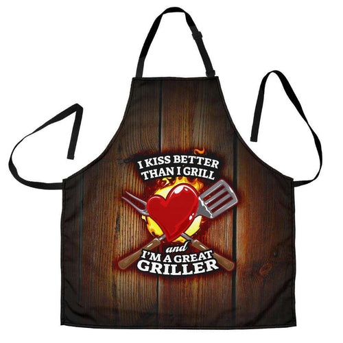 Designs by MyUtopia Shout Out:I Kiss Better Than I Grill Funny Apron, Kitchen, Baking, BBQ, Grilling,Men's Apron / Universal Fit,Apron