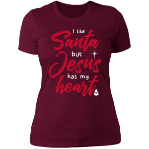 Designs by MyUtopia Shout Out:I Like Santa but Jesus Has My Heart - Ultra Cotton Ladies' T-Shirt,Maroon / X-Small,Ladies T-Shirts