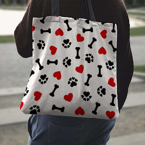 Designs by MyUtopia Shout Out:I Love Dogs Fabric Reusable Shopping Totebag
