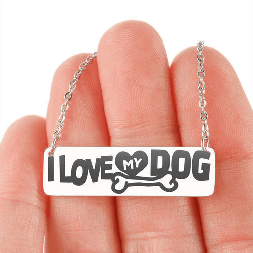 Designs by MyUtopia Shout Out:I Love My Dog Engraved Horizontal Bar Necklace,316L Stainless Steel / No,Necklace