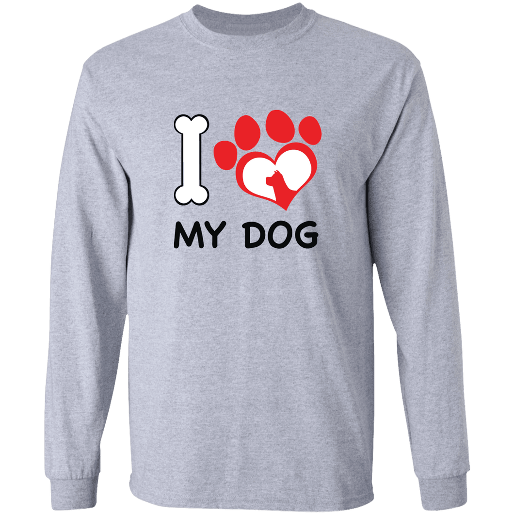 Designs by MyUtopia Shout Out:I Love My Dog Long Sleeve Ultra Cotton Unisex T-Shirt,Sport Grey / S,Long Sleeve T-Shirts