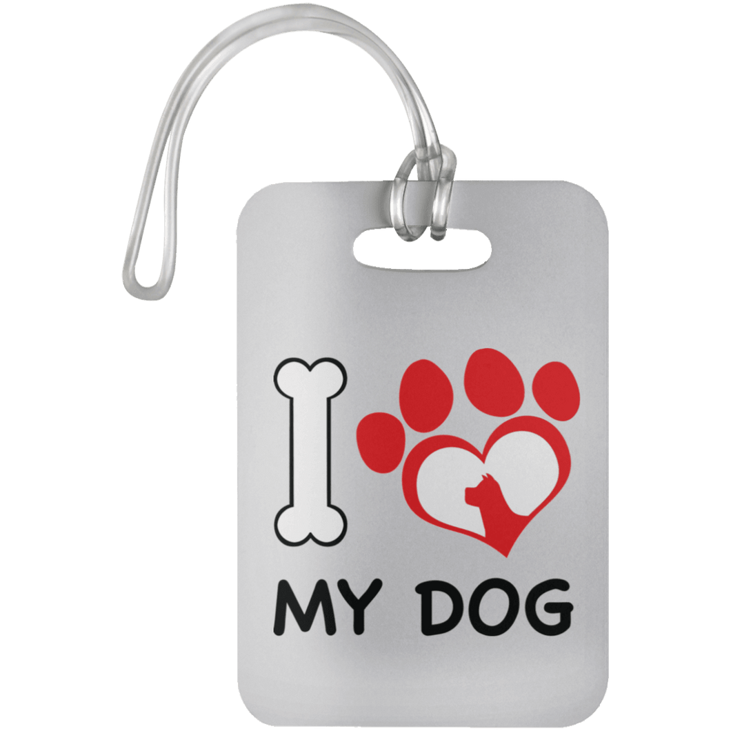 Designs by MyUtopia Shout Out:I Love My Dog Luggage Bag Tag,White / One Size,Bags