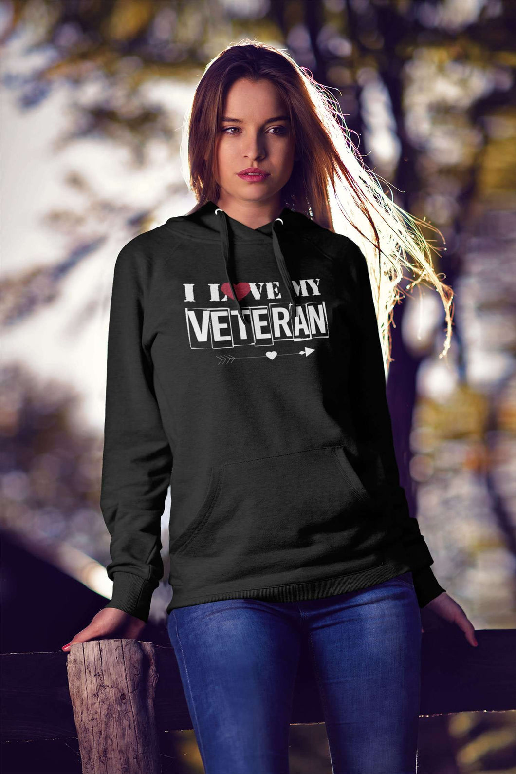 Designs by MyUtopia Shout Out:I Love My Veteran Core Fleece Pullover Hoodie