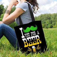 Load image into Gallery viewer, Designs by MyUtopia Shout Out:I Mustache You For A Beer Fabric Totebag Reusable Shopping Tote