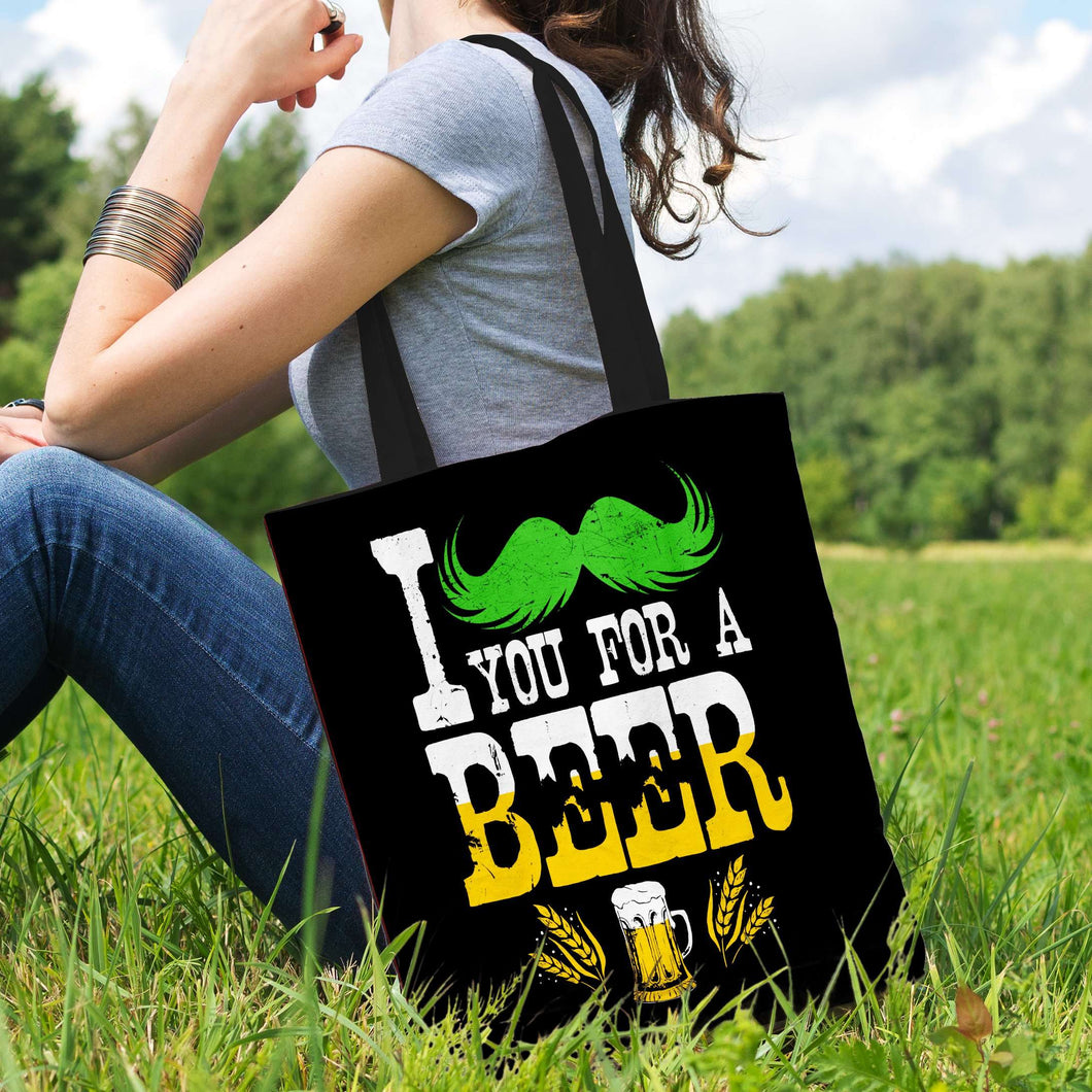 Designs by MyUtopia Shout Out:I Mustache You For A Beer Fabric Totebag Reusable Shopping Tote