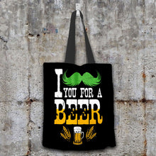 Load image into Gallery viewer, Designs by MyUtopia Shout Out:I Mustache You For A Beer Fabric Totebag Reusable Shopping Tote,Black,Reusable Fabric Shopping Tote Bag