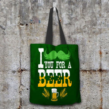 Load image into Gallery viewer, Designs by MyUtopia Shout Out:I Mustache You For A Beer Fabric Totebag Reusable Shopping Tote,Dark Green,Reusable Fabric Shopping Tote Bag