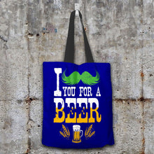 Load image into Gallery viewer, Designs by MyUtopia Shout Out:I Mustache You For A Beer Fabric Totebag Reusable Shopping Tote,Navy,Reusable Fabric Shopping Tote Bag