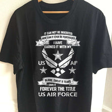 Load image into Gallery viewer, Designs by MyUtopia Shout Out:I Own Forever the Title of Air Force Veteran Unisex T-Shirt,S / Black,Adult Unisex T-Shirt