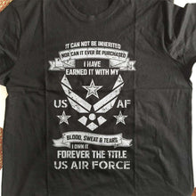Load image into Gallery viewer, Designs by MyUtopia Shout Out:I Own Forever the Title of Air Force Veteran Unisex T-Shirt