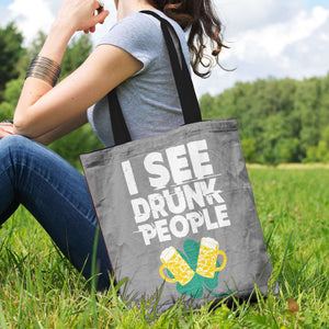 Designs by MyUtopia Shout Out:I See Drunk People Fabric Totebag Reusable Shopping Tote