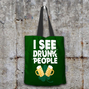 Designs by MyUtopia Shout Out:I See Drunk People Fabric Totebag Reusable Shopping Tote,Dark Green,Reusable Fabric Shopping Tote Bag