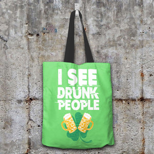 Designs by MyUtopia Shout Out:I See Drunk People Fabric Totebag Reusable Shopping Tote,Pastel Green,Reusable Fabric Shopping Tote Bag