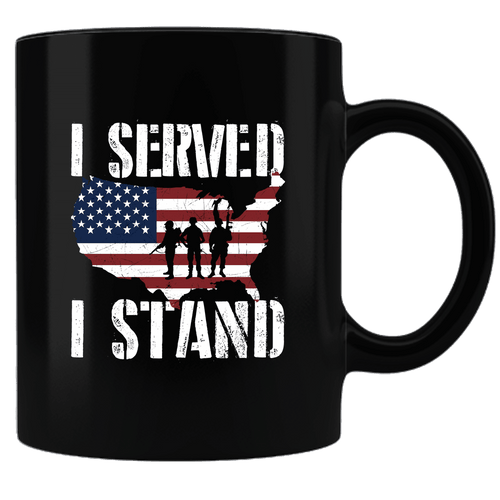 Designs by MyUtopia Shout Out:I Served, I Stand For The Flag Black Ceramic Coffee Mug,Black,Ceramic Coffee Mug