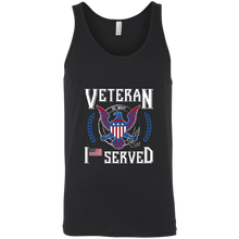 Load image into Gallery viewer, Designs by MyUtopia Shout Out:I Served U.S. Navy Veteran Unisex Tank,X-Small / Black,Tank Tops