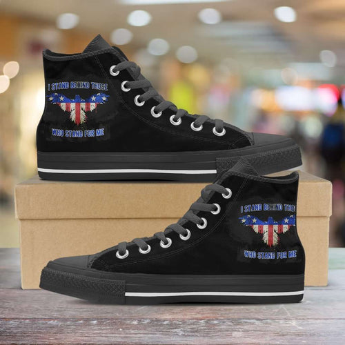Designs by MyUtopia Shout Out:I Stand Behind Those Who Stand For Me Canvas High Top Shoes,Men's / Mens US 5 (EU38) / Black,High Top Sneakers