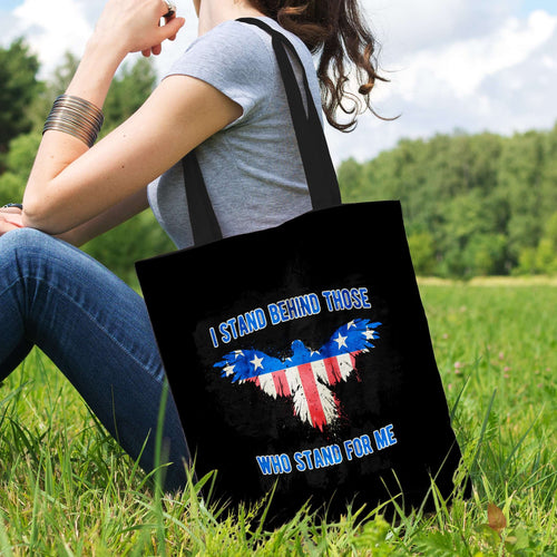 Designs by MyUtopia Shout Out:I Stand Behind Those Who Stand For Me Fabric Totebag Reusable Shopping Tote