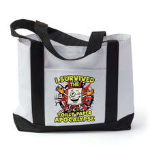 Load image into Gallery viewer, Designs by MyUtopia Shout Out:I Survived The Toilet Paper Apocalypse Gym/Shopping Tote Bag