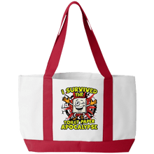 Load image into Gallery viewer, Designs by MyUtopia Shout Out:I Survived The Toilet Paper Apocalypse Gym/Shopping Tote Bag,White/Red / 19 x 12 x 4,Gym Totebag