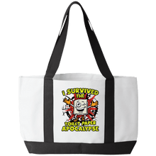 Load image into Gallery viewer, Designs by MyUtopia Shout Out:I Survived The Toilet Paper Apocalypse Gym/Shopping Tote Bag,White/Black / 19 x 12 x 4,Gym Totebag