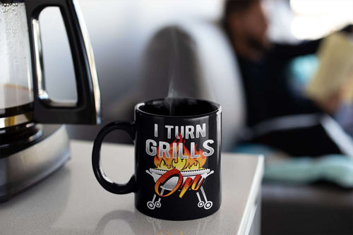 Designs by MyUtopia Shout Out:I Turn Grills On Ceramic Coffee Mug - Black