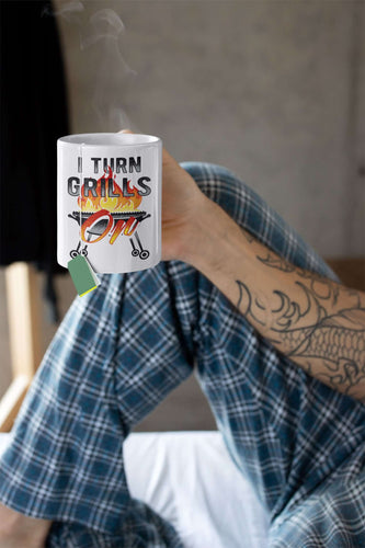 Designs by MyUtopia Shout Out:I Turn Grills On Ceramic Coffee Mug - White