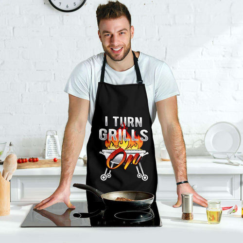 Designs by MyUtopia Shout Out:I Turn Grills On Dad Funny Apron, Kitchen, Baking, BBQ, Grilling