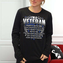 Load image into Gallery viewer, Designs by MyUtopia Shout Out:I'm A Veteran Don't Mess With Me Long Sleeve Ultra Cotton T-Shirt